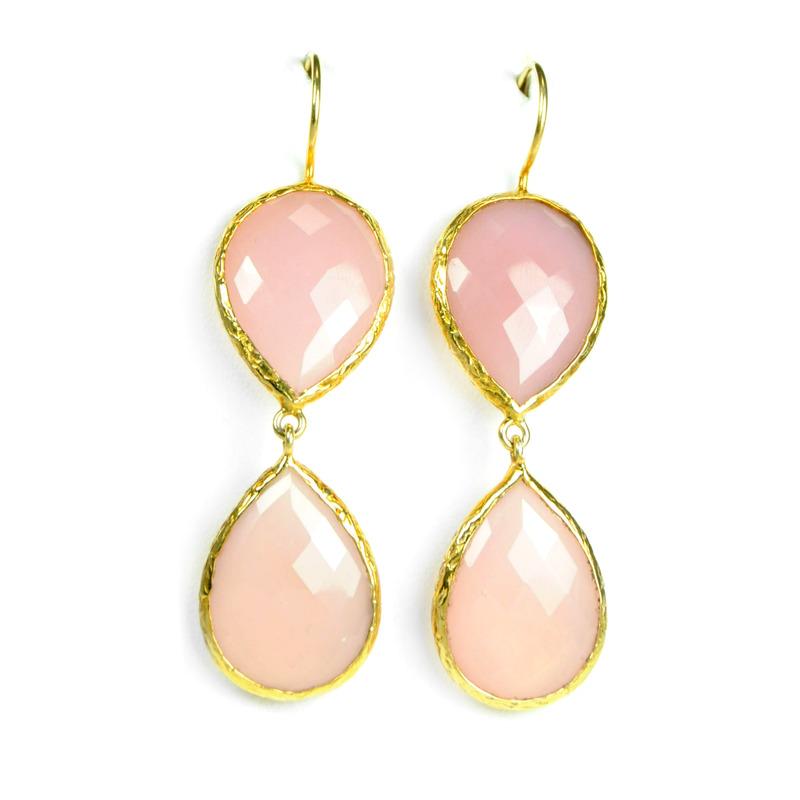 Urban Gem Double-Drop Semi-Precious Stone Earrings in Pink