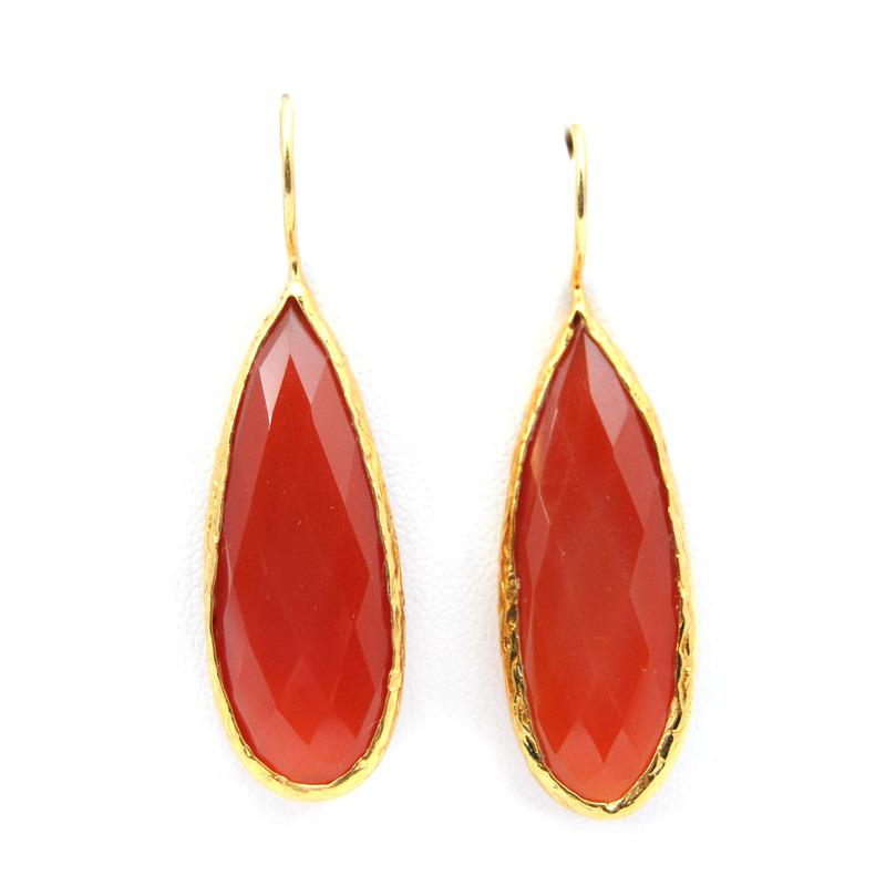 Urban Gem Long-Drop Semi-Precious Stone Earrings in Red