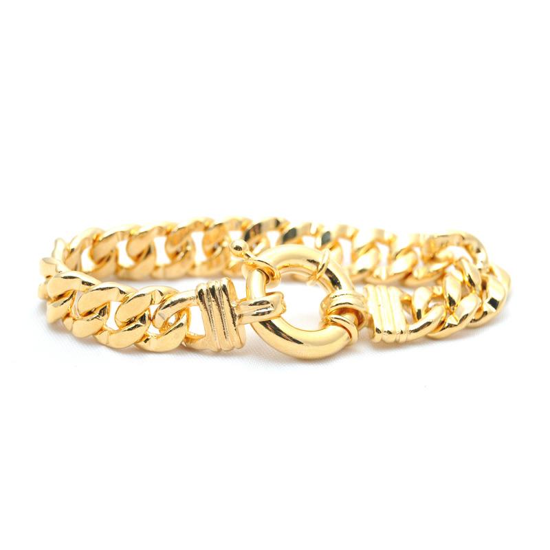 Urban Gem Gold Bracelet with Oversized Springing Clasp