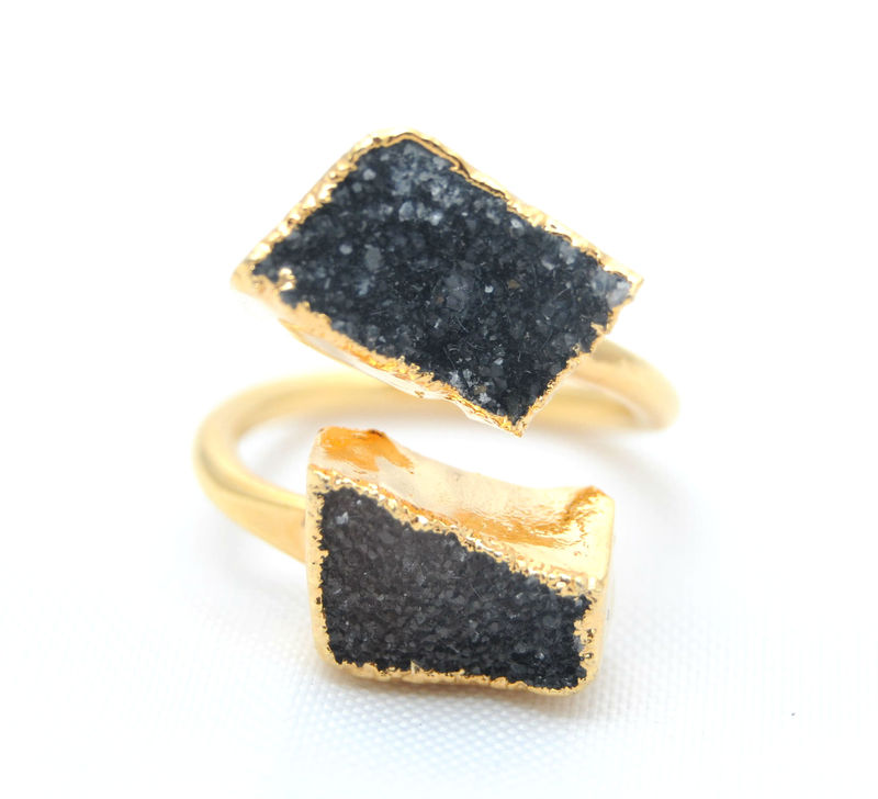 Charlene K Double Druzy Ring in Black