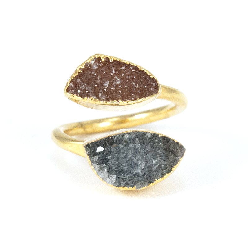 Charlene K Double Druzy Ring in Blue and Brown