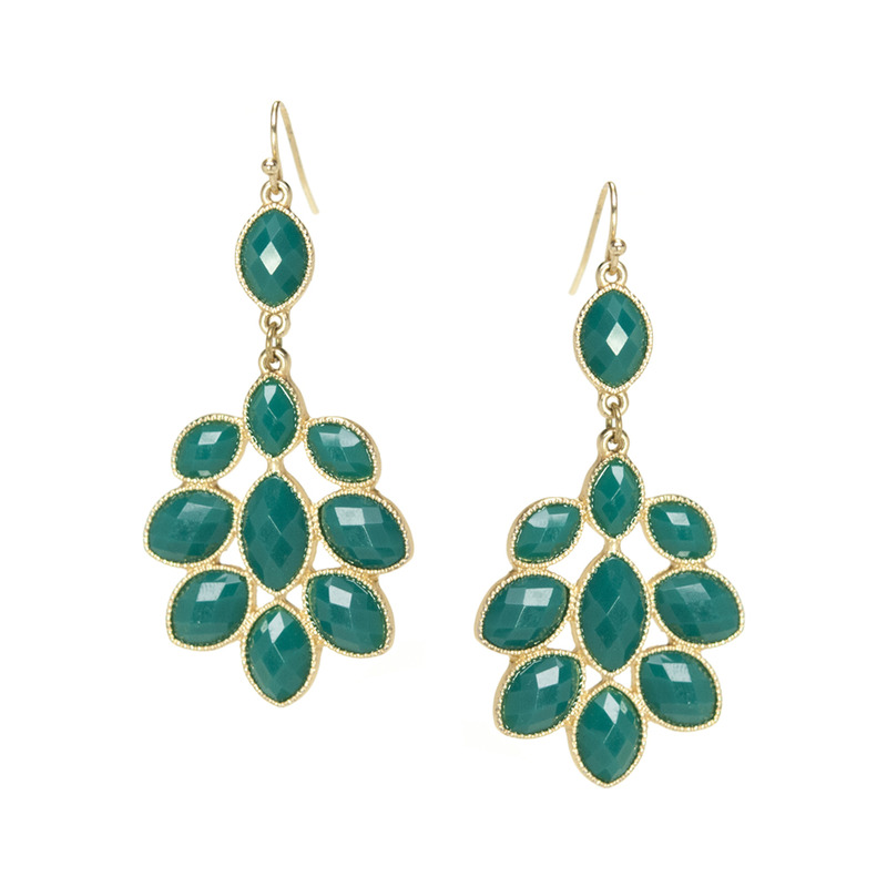Urban Gem Green Faux Stone Chandelier Earrings