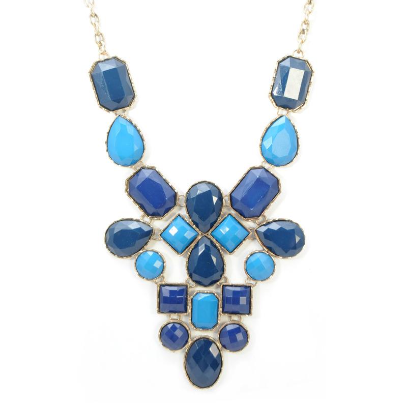 Urban Gem Faux Stone Bib Necklace in Blue