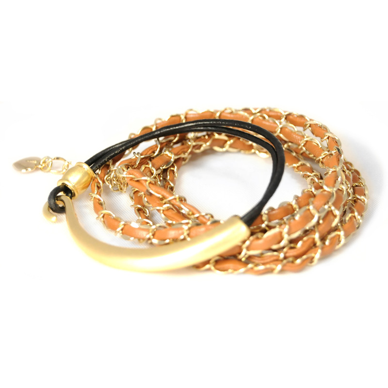 Urban Gem Leather and Gold Wrap and Hook Bracelet Set
