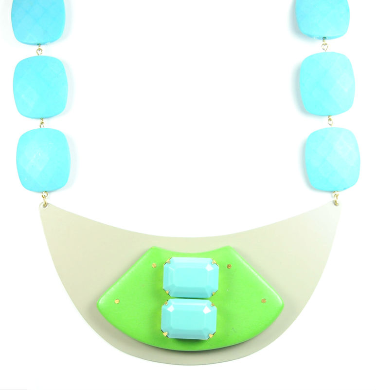 David Aubrey Blue Stone Bib Necklace