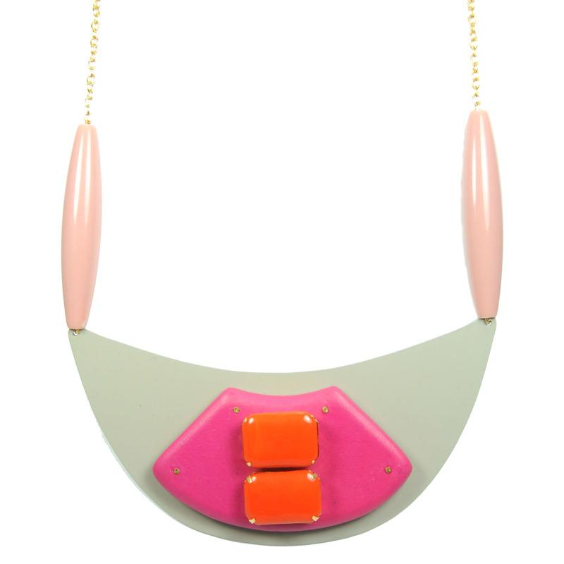 David Aubrey Pink and Orange Bib Necklace