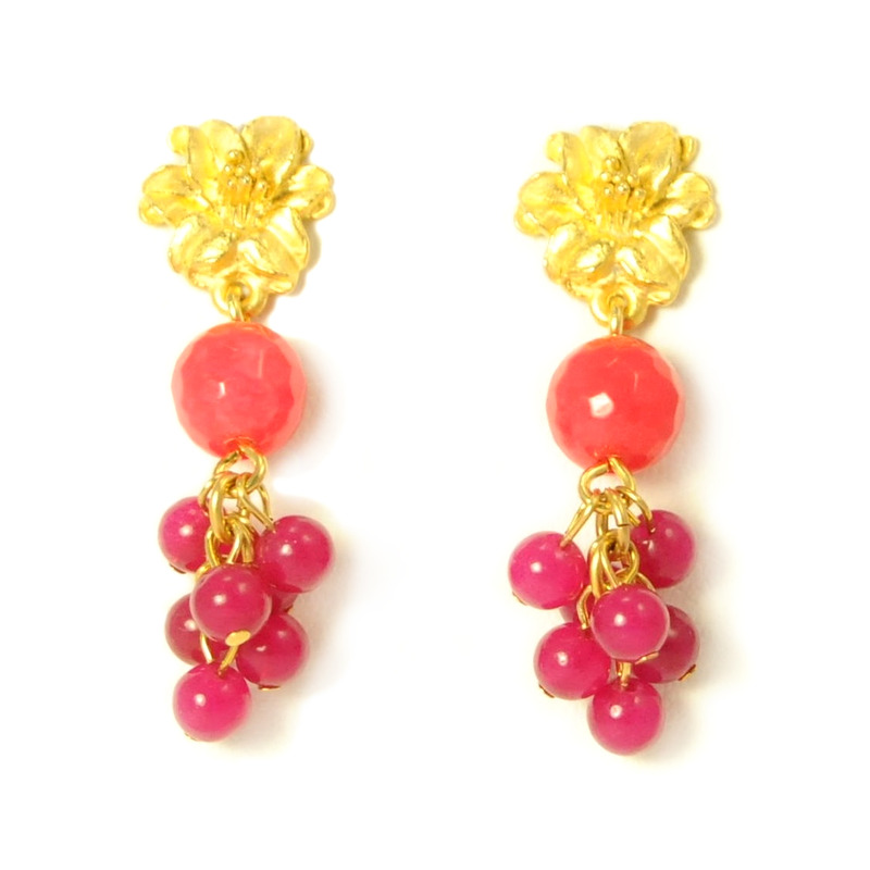 David Aubrey Pink Flower Dangle Stud Earrings