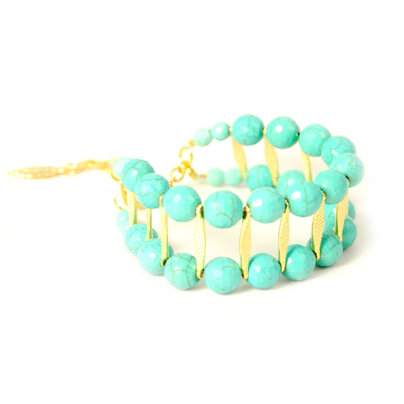 David Aubrey Double Layer Turquoise and Gold Bracelet