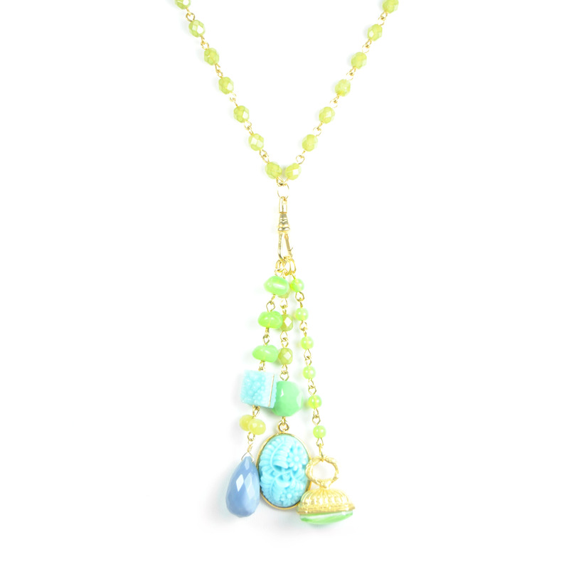David Aubrey Bead Chain Charm Necklace in Green and Blue