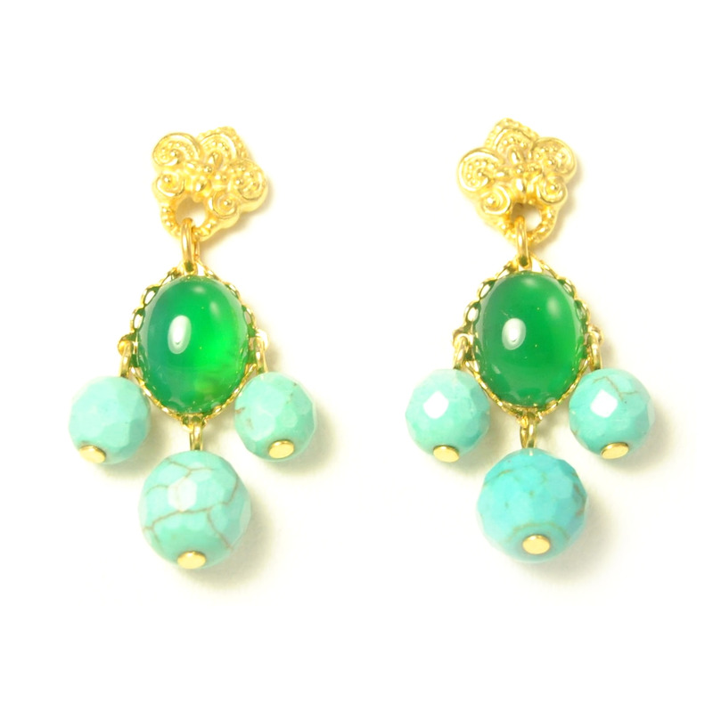 David Aubrey Fleur de Lis Studs with Turquoise Dangles