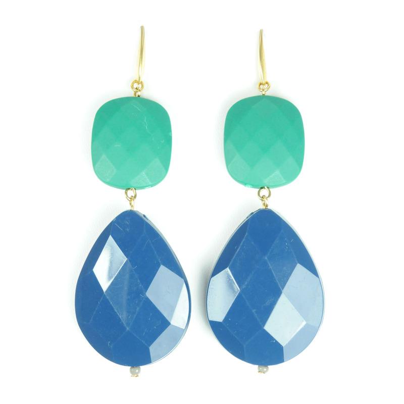 David Aubrey Resin Teardrop Earrings in Blue and Green