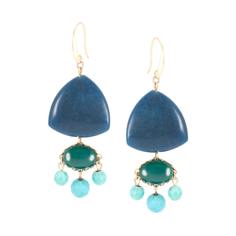 David Aubrey Multi-Stone Drop Earrings in Blue and Green