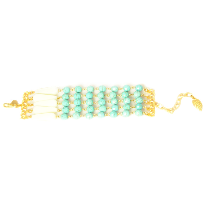 David Aubrey Five Strand Turquoise and Glass Bracelet