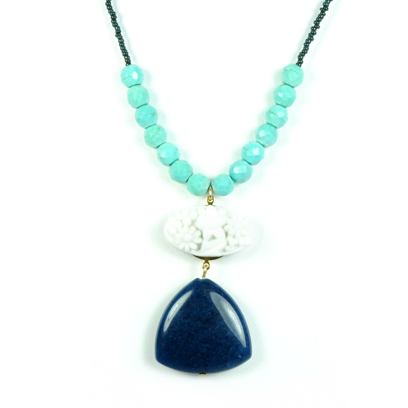 David Aubrey Blue Jade White Resin and Turquoise Necklace