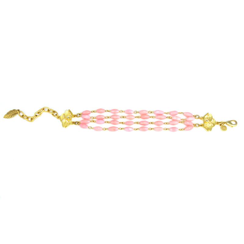 David Aubrey Triple Strand Pink Glass Bracelet