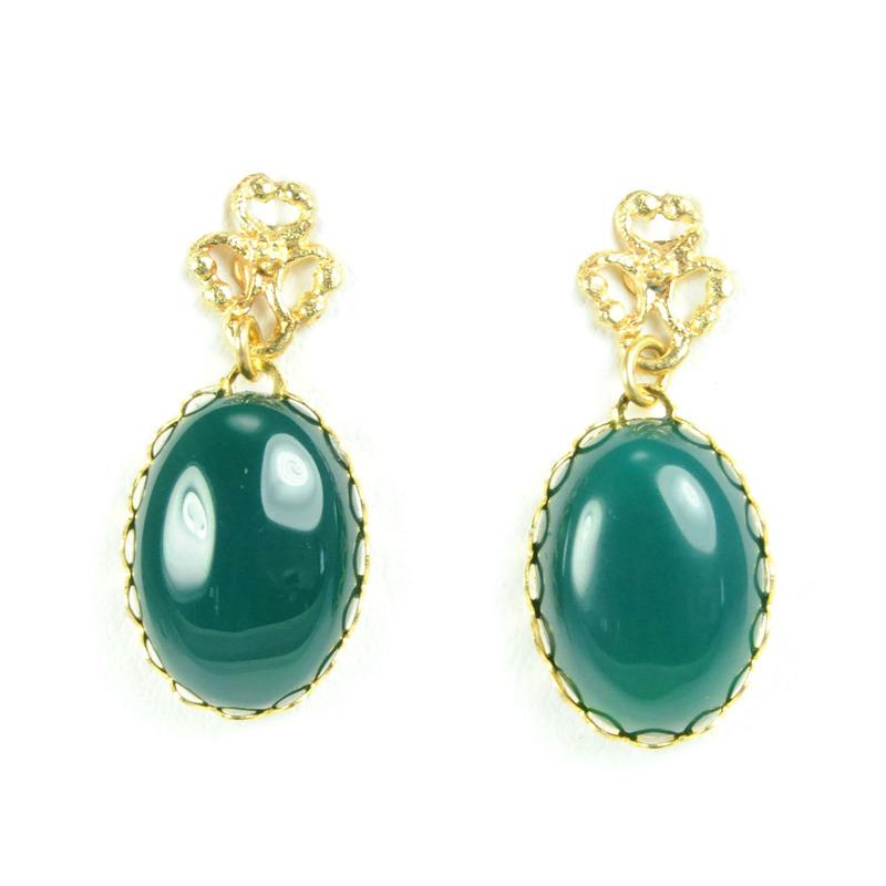 David Aubrey Green Glass Earrings