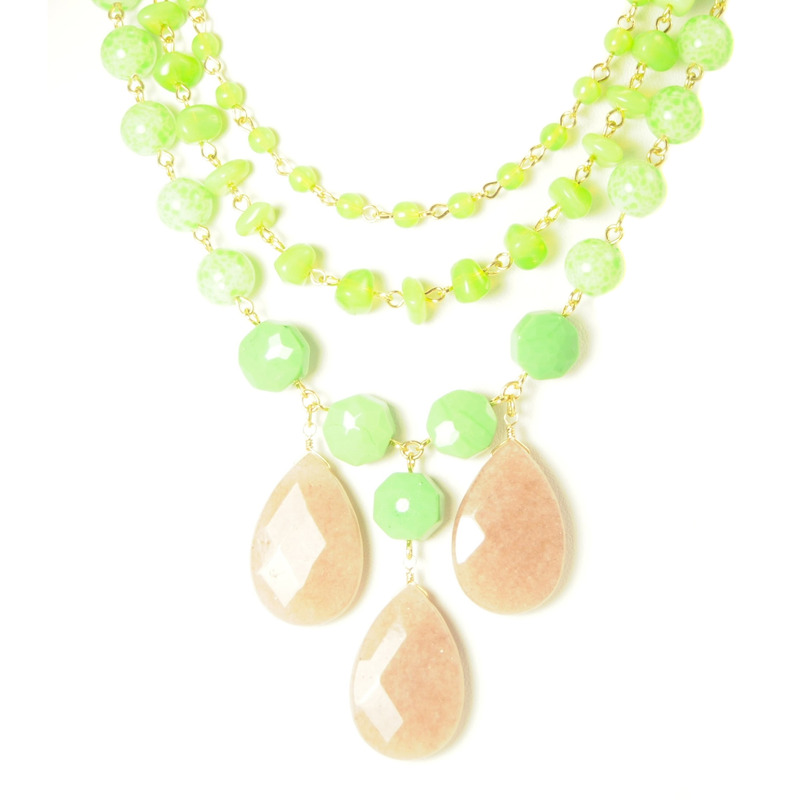 David Aubrey Triple Strand Green Stone Necklace
