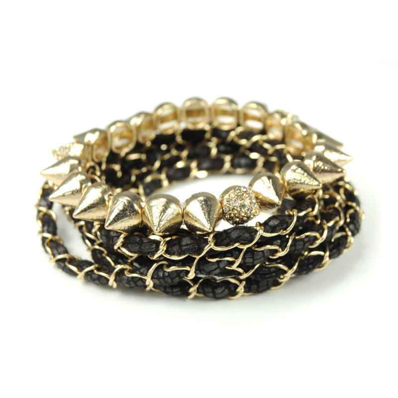 Urban Gem Leather Wrap and Studs Bracelet Set in Black and Gold