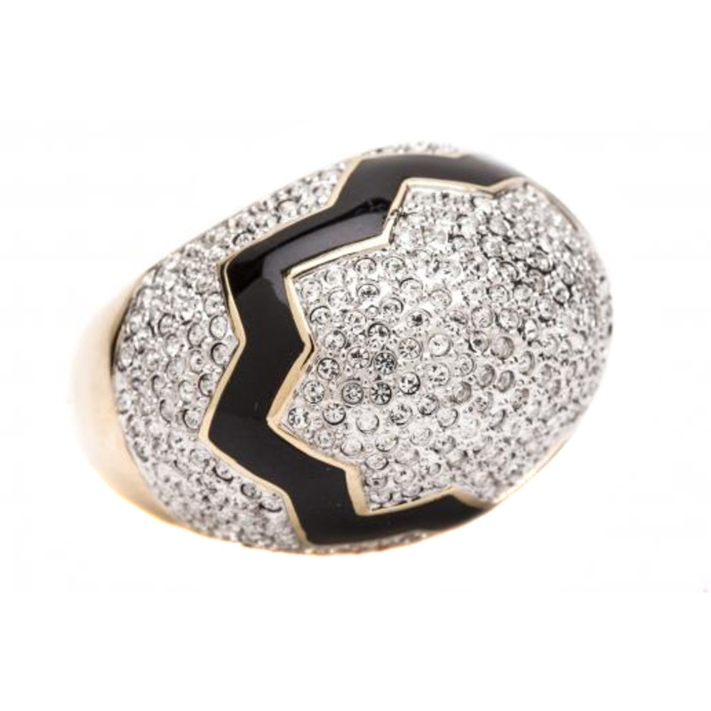 CC Skye Cracked Pave Egg Ring in Gold