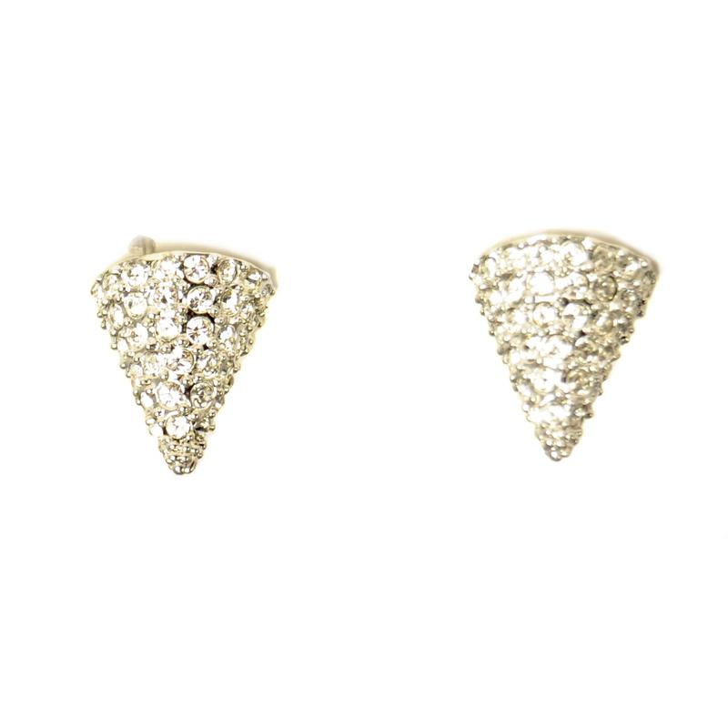 CC Skye Mini Rock Stud Earrings in Pave Silver