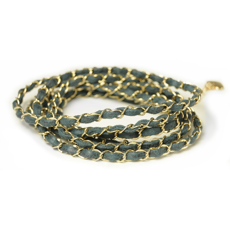 Urban Gem Navy and Gold Leather Chain Wrap Bracelet