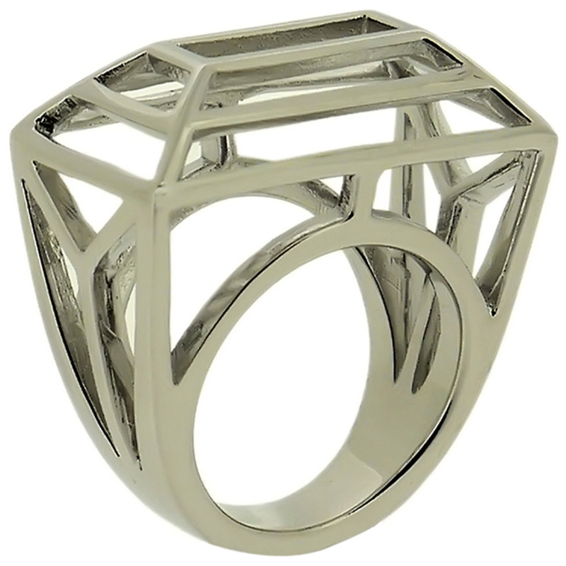 Lucas Jack Frame Wire Trapezoid Ring in Rhodium
