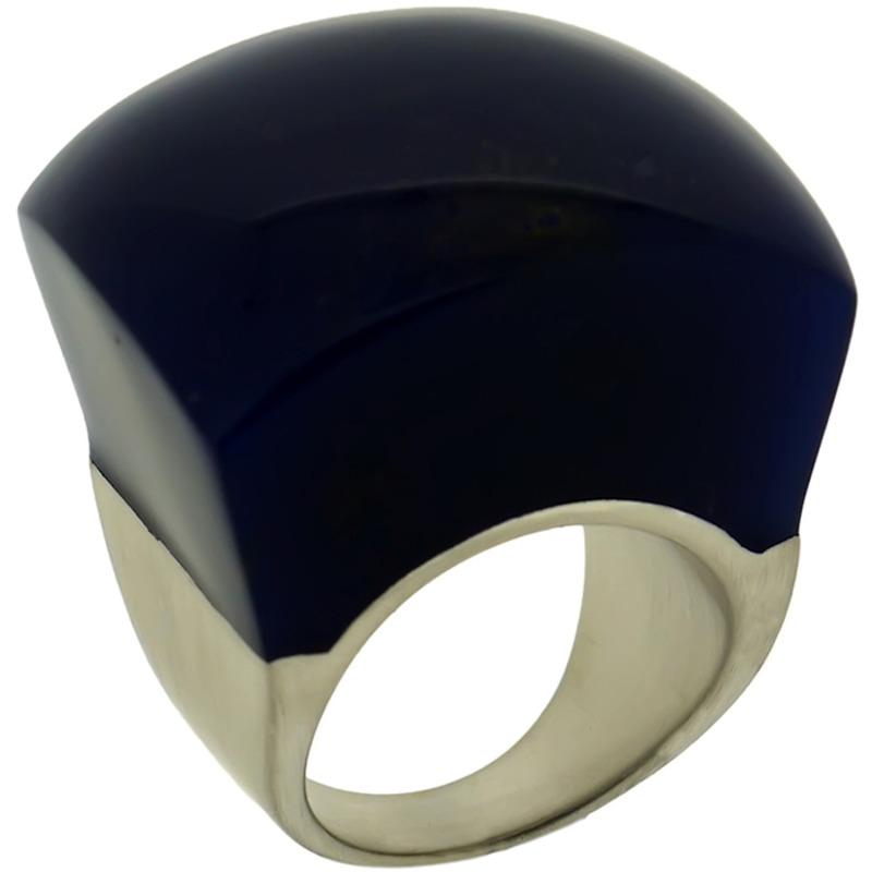 Lucas Jack Rock Ring in Lapis and Rhodium