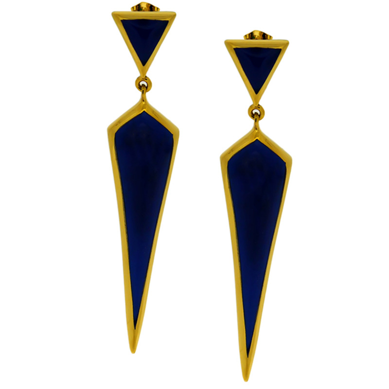 Lucas Jack Geo Spike Drop Earrings in Lapis and Gold