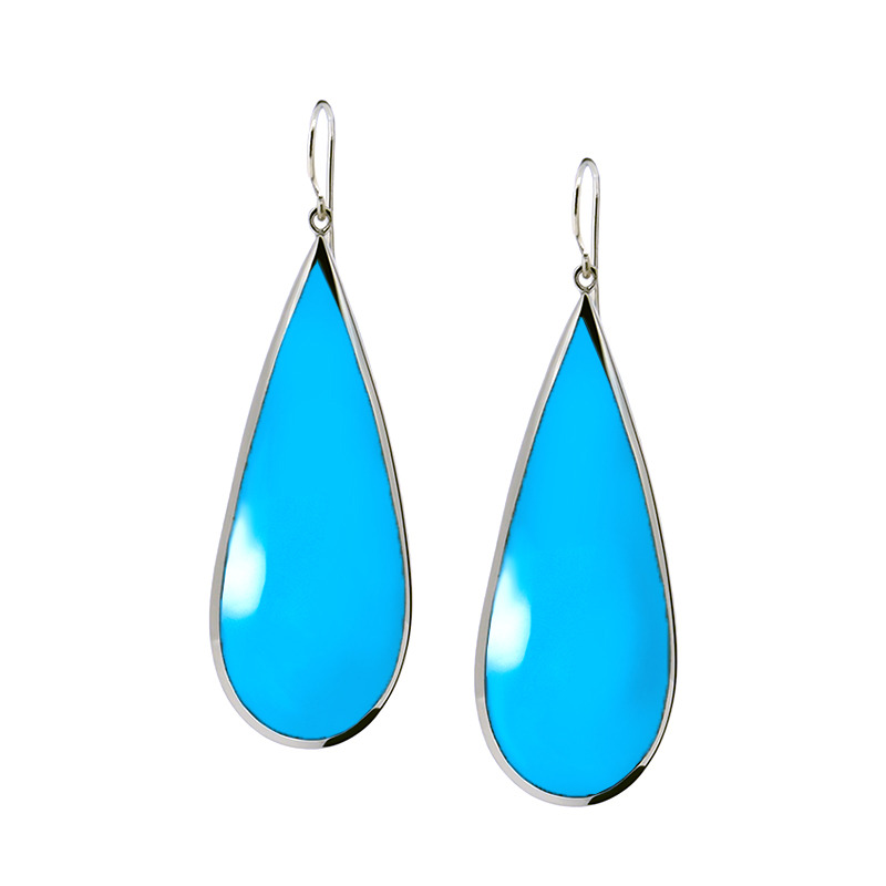 Lucas Jack Giant Drop Earrings in Silver and Blue