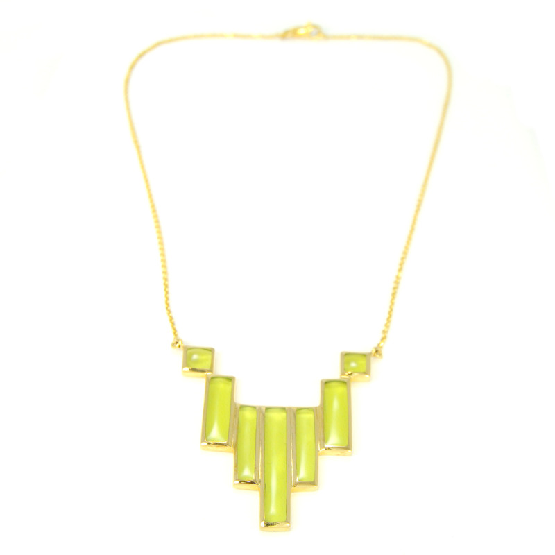 Lucas Jack Geo Bars Necklace in Green and Gold