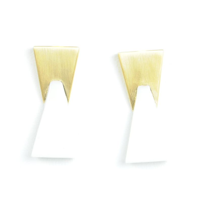 Lucas Jack Double Trapezoid Earrings in White and Gold