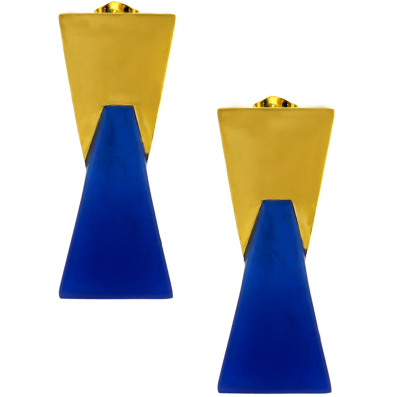 Lucas Jack Double Trapezoid Earrings in Lapis and Gold