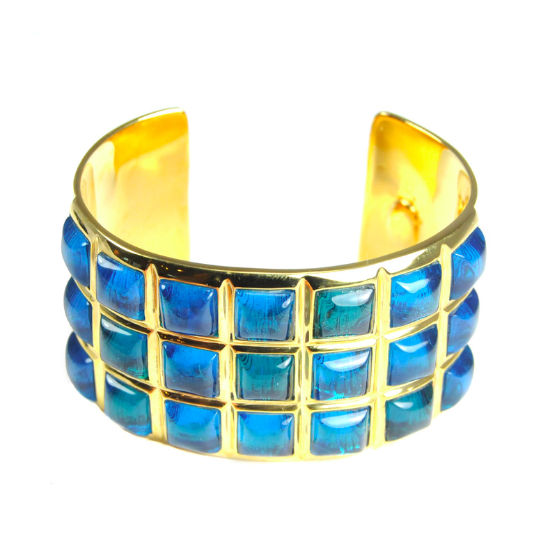 Lucas Jack Studded Cuff in Blue