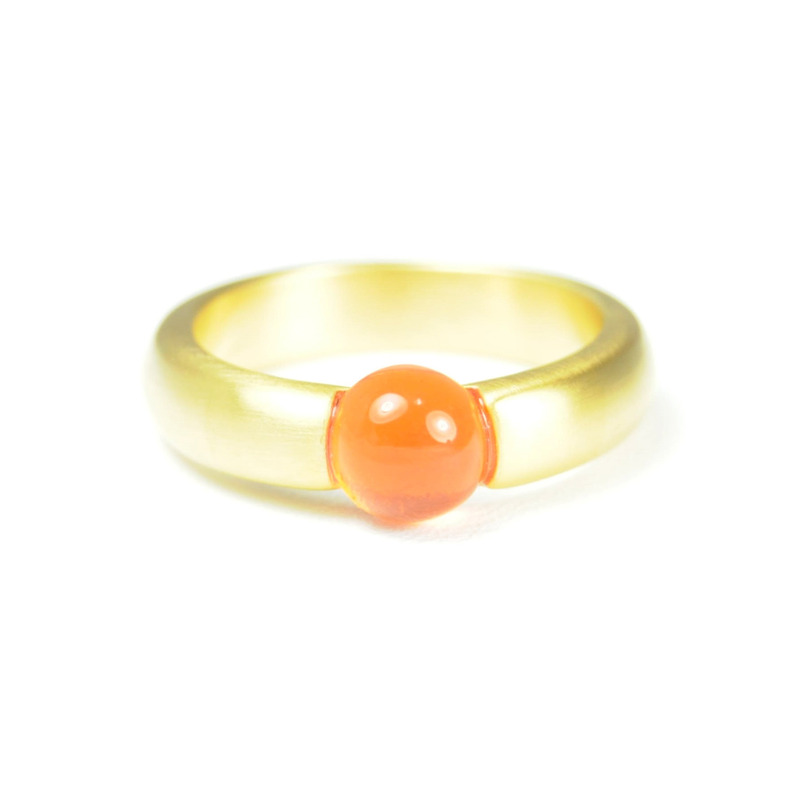 Lucas Jack Small Embedded Deep Orange Stone Ring