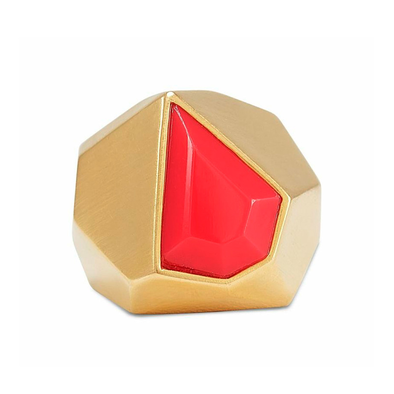 Lucas Jack Embedded Red Coral Diamond Ring