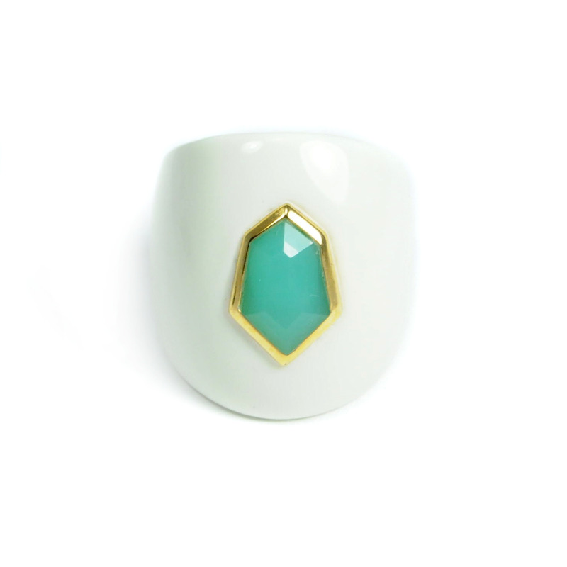 Lucas Jack Daria Ring in White and Turquoise