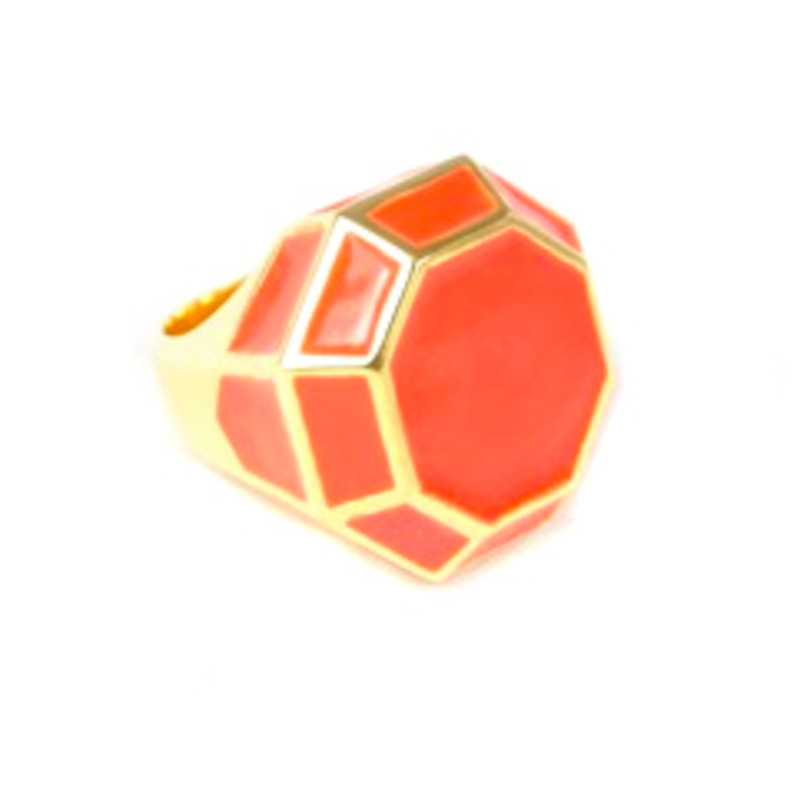 Lucas Jack Geometric Chunky Dome Ring in Red Coral