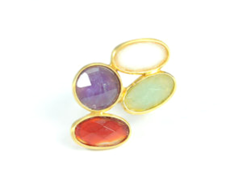 Lucas Jack Quad Gem Ring in 4 Colors