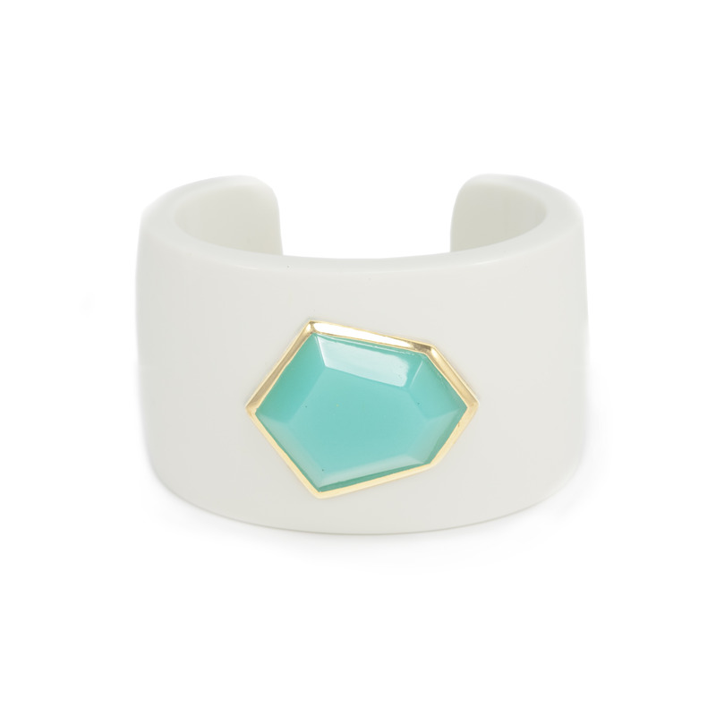 Lucas Jack Daria Cuff in White and Turquoise