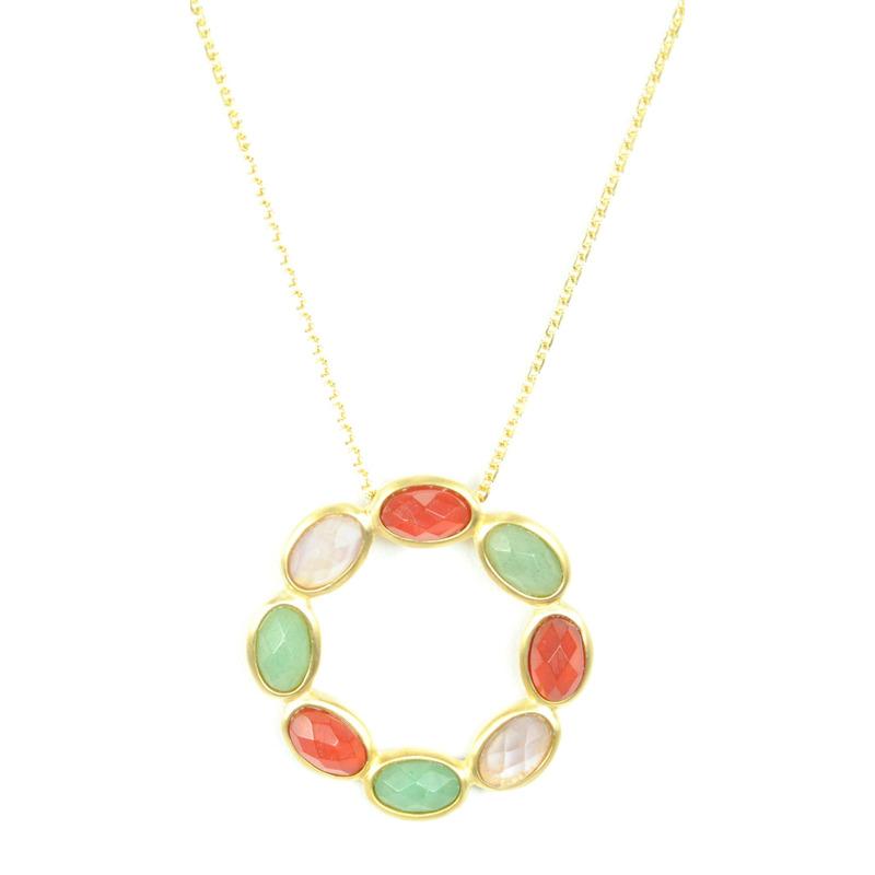 Lucas Jack Circle Necklace in Multicolor