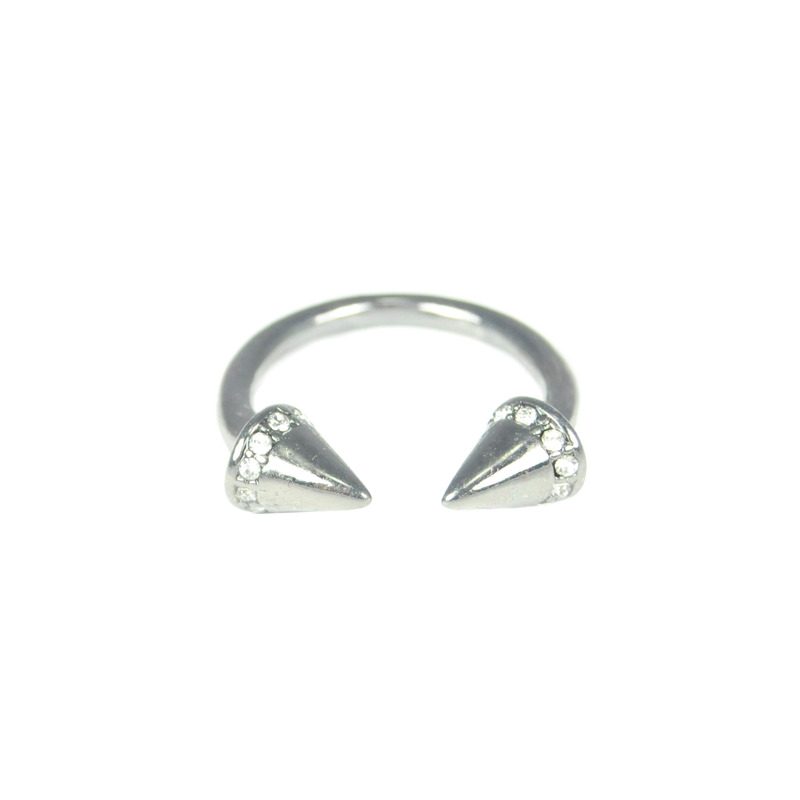 Urban Gem Open Spike Ring in Gunmetal