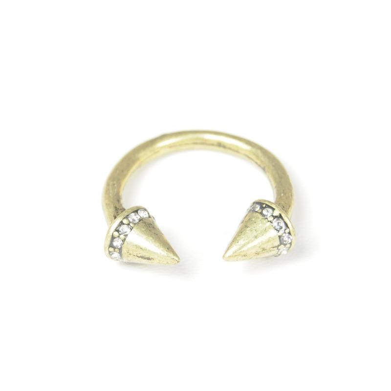 Urban Gem Open Spike Ring in Brass