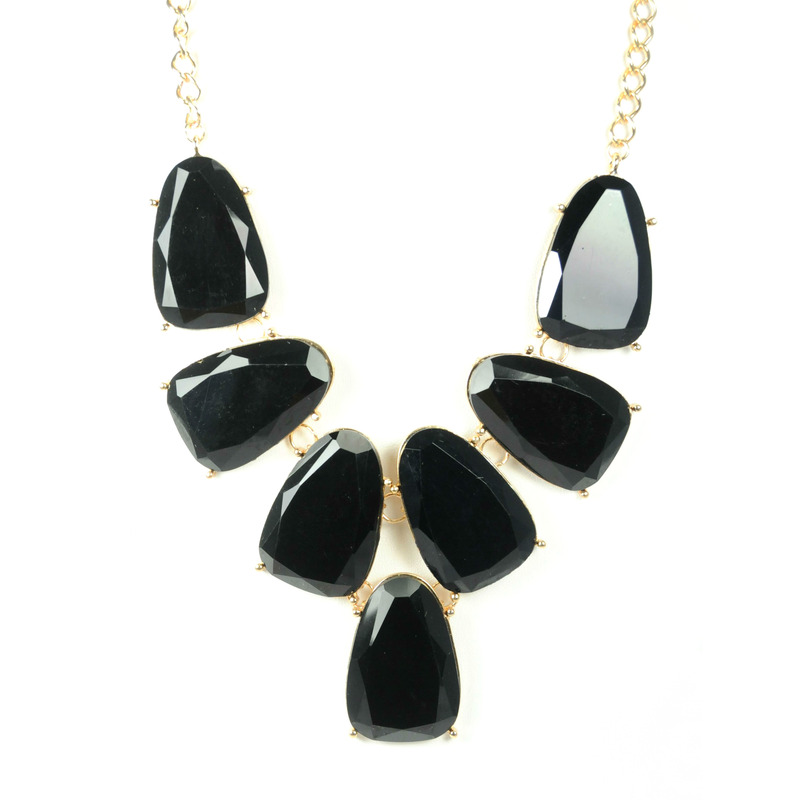 Urban Gem Faceted Black Bib Necklace