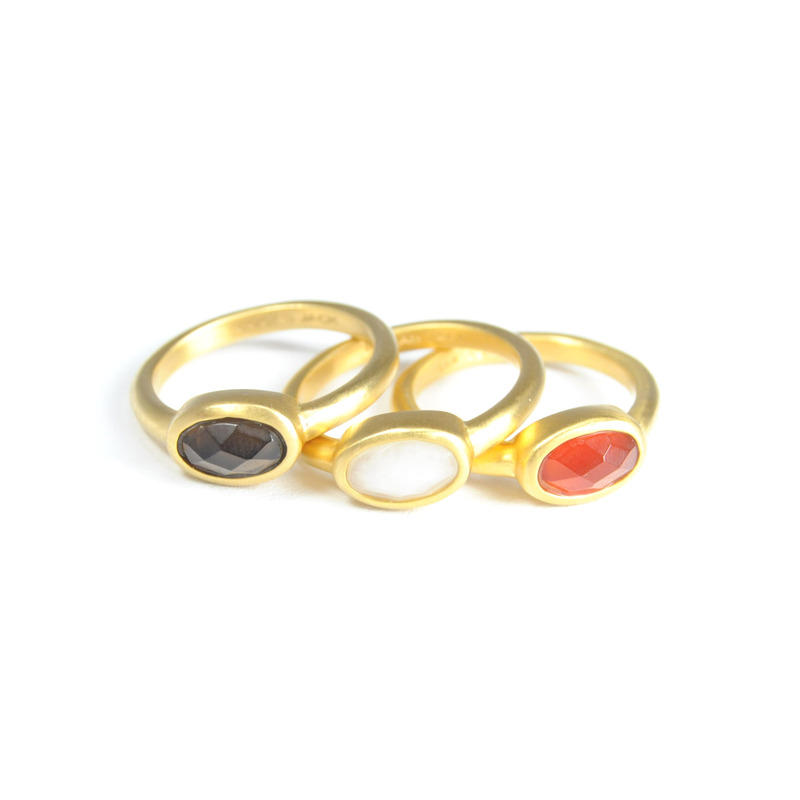 Lucas Jack Stackable Ring Set in White Orange and Smoke