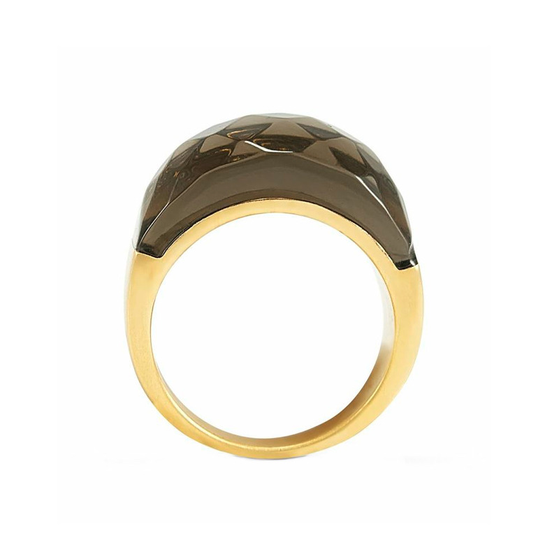 Lucas Jack Faceted Semi Ring in Deep Gray