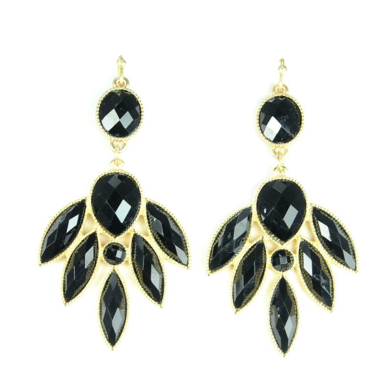 Urban Gem Black Faux Stone Chandelier Earrings