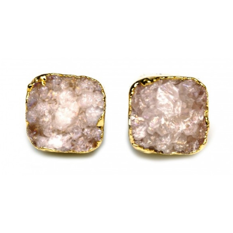 Robyn Rhodes Kourtney Earrings in Clear and Gold