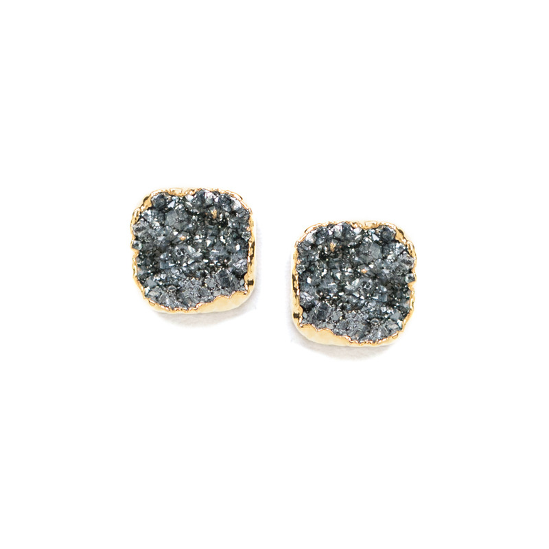 Robyn Rhodes Kourtney Earrings in Grey and Gold