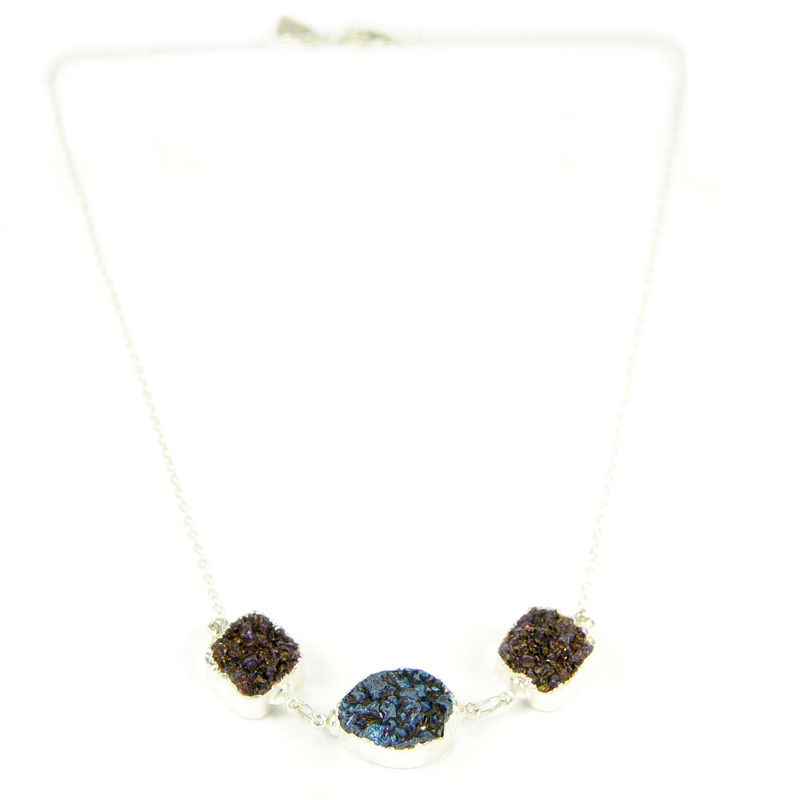 Robyn Rhodes Cedrick Necklace in Blue, Maroon, and Silver