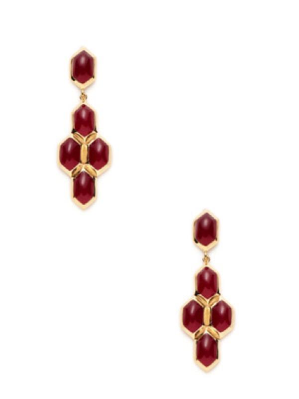 Lucas Jack Hex Earrings in red